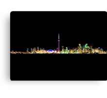 Toronto Skyline At Night From Centre Island Canvas Print