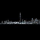 Toronto Skyline At Night From Centre Island Mono by Brian Carson