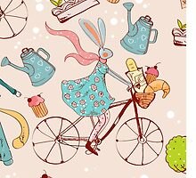 rabbit on bisycle by Maryna  Rudzko