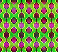 funky purple yellow and green retro ogee pattern by wasootch