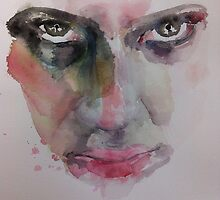 Watercolor Face Intense Stare  by adi3e