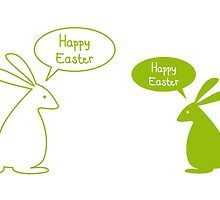 Happy Easter card with bunnies by beakraus