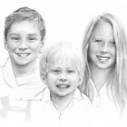Brothers and sister drawing by Mike Theuer