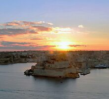Fort St Angelo At Sunrise by sgrixti