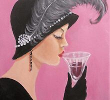 A LADY SIPPING WINE by Dian Bernardo