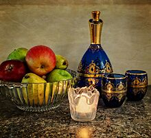 Bowl of Fruit, Some Wine and A Candle by Lucinda Walter