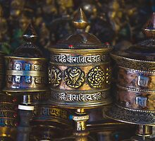 Tibetan Prayer Wheels by Valerie Rosen