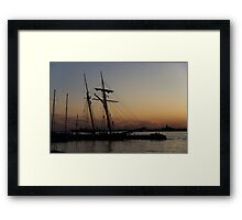 Climbing the Rigging - Sailors Silhouettes at the Hudson River Waterfront, New York City Framed Print