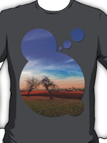 Trees, sunset, clouds, panorama and village | landscape photography T-Shirt
