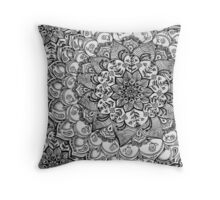 Shades of Grey - mono floral doodle Throw Pillow
