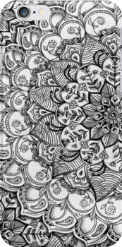 Shades of Grey - mono floral doodle by micklyn