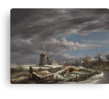 Winter landscape with figures on a path Canvas Print