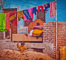 Colorful scene from indian street life by Anna Alferova