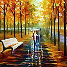 FALL — WHITE UMBRELLA by Leonid  Afremov