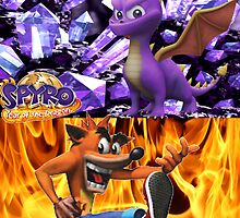 Spyro the dragon and Crash Bandicoot by bboyce97