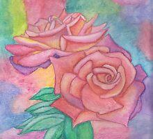 Pink & Mauve Roses by Linda Allan