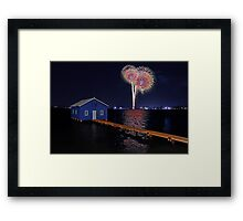 Crawley Edge Boatshed Fireworks Framed Print