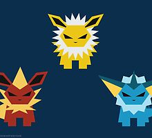 Vaporeon, Jolteon and Flareon by Gefemon2