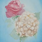 Pink Rose, White Hydrangea #1 by Jewel  Charsley