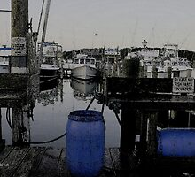 Blue Barrels at the Marina by Gilda Axelrod