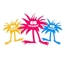 3 team crew friends colorful hairy Monster by Style-O-Mat