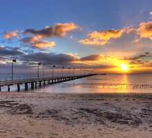 Sun Rays Over Frankston Pier by Ben  Cadwallader