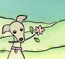 Greyhound with Pink Flower  by zoel