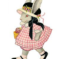 Vintage Bunny Rabbit Girl with Basket and Hat by fairytaleart