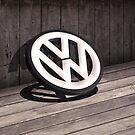 Old Wooden 3D style backdrop with a 3D VW Sign by jay007