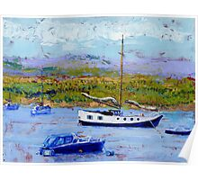 Bright Sunshine, Boats on the Estuary. Poster
