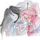 Princess Bubblegum x Marceline FIST BUMB KISS by kellymaryanski