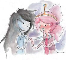 Princess Bubblegum x Marceline FIST BUMB KISS by kellymaryanski