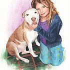 Granddaughter and dog watercolor by Mike Theuer
