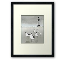 Seagulls Lighthouse Framed Print