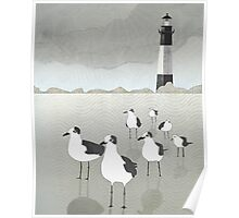Seagulls Lighthouse Poster