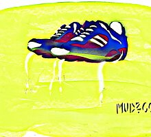 rainbow sneakers on yellow by mudzco
