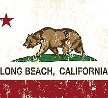 Long Beach California Republic Flag Distressed  by NorCal