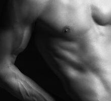 Closeup of man slim naked body art photo print by ArtNudePhotos