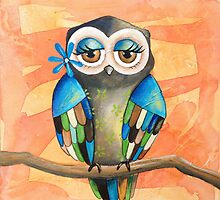 Mother Owl Acrylic Painting by Kristy Spring-Brown
