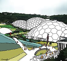 Eden project UK - fine art print, decor, wall art, modern, blue green, garden, landscape, eden, Cornwall, colour, domes by hannah glanvill by goartit