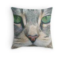 Emerald Eyes Scratch Art Throw Pillow
