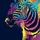 Colorful Zebra Splatters Art by OlechkaDesign
