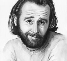 George Carlin Watercolor Portrait by OlechkaDesign