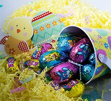 EASTER EGGS IN A BASKET WITH CHICKEN by paulasphotos101