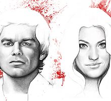 Debra and Dexter Morgan Portrait, Art by OlechkaDesign