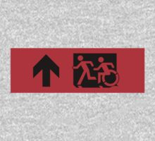 Accessible Means of Egress Icon and Running Man Emergency Exit Sign, Left Hand Up Arrow by LeeWilson