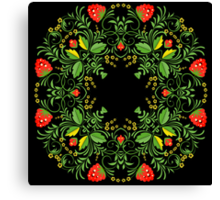Сircle lace pattern in the traditional Russian hohloma style Canvas Print