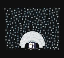 Penguins In Igloo While Snowing Art Kids Clothes