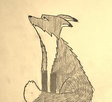 Red Fox Sketch in Sepia by fandoms-fineart