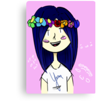 Kawaii Cheeks and Flower Crowns Canvas Print